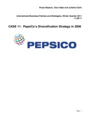 pepsicos diversification strategy Pepsico inc swot analysis revealing the main company's strengths, weaknesses, opportunities and threats the facts may surprise you.
