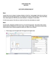 Access Assignment Answers Fall 2013