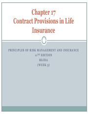 W3 - CONTRACT PROVISIONS IN LIFE INSURANCE