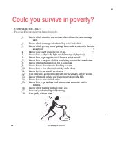Could You Survive in Poverty