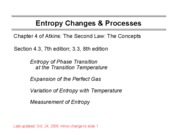 7 Entropy Changes and Processes