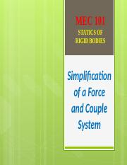 7 - SIMPLIFICATION OF A FORCE AND COUPLE SYSTEM
