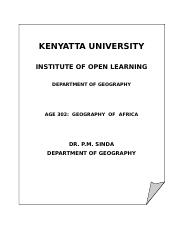 AGE 302 Geography Of Africa.doc