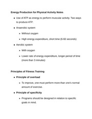 Energy Production for Physical Activity Notes