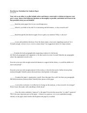 Peer Review Worksheet for Analysis Paper