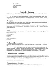 Communications Plan Executive Summary