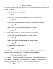 Printables Chemistry Review Worksheet Answers reading worksheet i unit 10 and key mr buchanan chemistry wksht 2 pages test review with answers