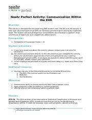Neehr Perfect EHR Activity-Communication Within the EHR v5 hw.docx