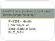 Week 5 - Health Literacy – How does it affect health