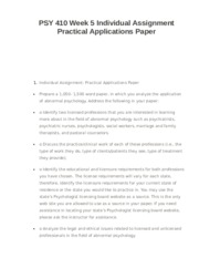 PSY 410 Week 5 Individual Assignment Practical Applications Paper