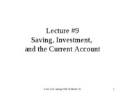 Saving, Investment, and the Current Account