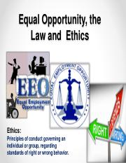Module 2 - EEO, Law, Employee Relations & Ethics Spring (Chp. 2 & 14)