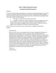 CS204 Professional Presence UNIT 1 Learning Assignment
