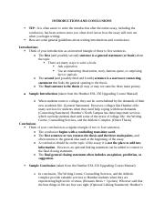 Introductions and Conclusions Updated Handout