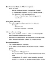 Direct and Indirect Action Advertising notes