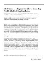 (Reading 8) Effectiveness of a Regional Corridor in Connecting two Florida Black Bear Populations.pd