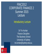 FINC2012  Introductory Lecture