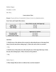 Lab Report 3 - Conservation of Mass