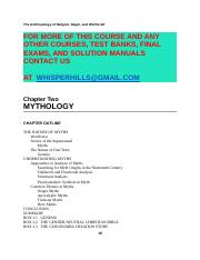 Test Bank for Anthropology of Religion, Magic, and Witchcraft, The, 3E 3rd Edition.doc