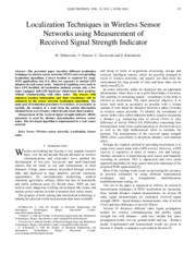 Location Techniques in Wireless sensor Networks using Measurement of RSSI