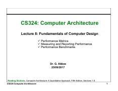 8. Fundamentals of Computer Design- Performance Metrics, Measuring and Reporting Performance, Perfor
