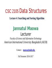 CSC2105 Lecture 04 - Searching and Sorting Algorithm