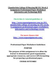 Chamberlain College Of Nursing NR 351 Week 3 Assignment Professional Paper Worksheet Informatics and
