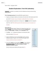 free fall acceleration laboratory Physics 183 acceleration of gravity lab (picket fence) object: to measure the acceleration of a freely falling body due to gravitational  object in free fall.