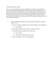 HCS-325 Week 4 Action Plan Update Assignment