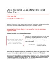 Cheat Sheet for Calculating Fixed and Other Costs