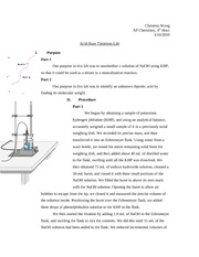 chem lab acid base titration Introduction this laboratory exercise relies on a titration technique to determine an unknown concentration of monoprotic acid in solution in the process of titration, a basic solution is.