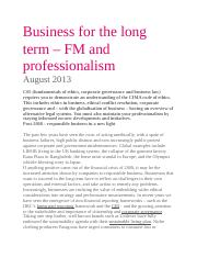Business for the long term FM and professionalism.doc