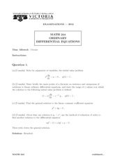 MATH 244 2012 Final Exam with Solutions