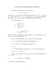 NOTES ON NONPARAMETRIC REGRESSION
