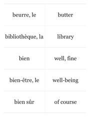 Chez Nous Glossary Flashcards Part 1.61-80