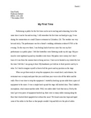Essay 1 - My First Time