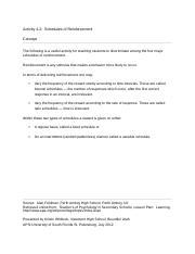 Schedules Of Reinforcement Worksheet Schedules Of Reinforcement