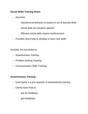 Social Skills Training Notes