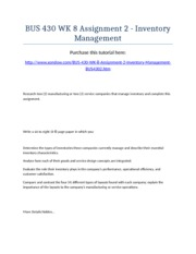 BUS 430 Week 8 Assignment 2 - Inventory Management - Strayer University NEW