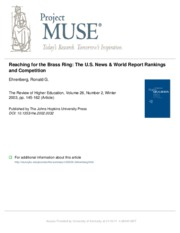Reaching for the Brass Ring - The U.S. News & World Report Rankings and Competition