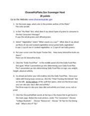 ChooseMyPlate - ChooseMyPlate Gov Scavenger Hunt 10 points Name Rhen