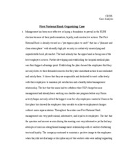 ILRCB 205 First National Bank Organizing Case_Essay