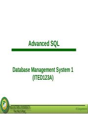 Lesson 8 - Advanced SQL.ppt