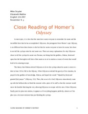 Close Reading of Homer's Odyssey
