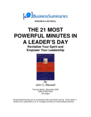Maxwell, John - The 21 Most Powerful Minutes In A Leaders Day