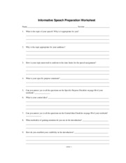 Informative Speech Preparation Worksheet
