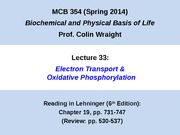 MCB 354 Electron Transport and Oxidative Phosporylation Lecture