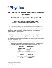 Electric Potential - Determining Resistance - Lab Report.docx