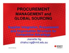 L6 - Supplier Integration, Procurement and Organisation Structure  for Competitive Advantage (for cl