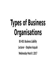 Introduction to Business Organisations 01032017